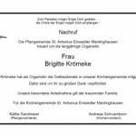 Nachruf Organistin Brigitte Krömeke