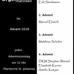 Orgelmatineen im Advent 2018